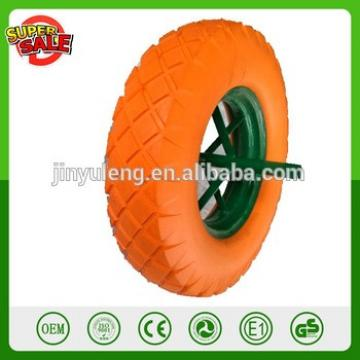16 inch 4.00-8 Metail rim solid PU foam wheel for wheelbarrow barrow WB6400 spoke rim with axle solid tubeless tire
