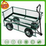 heavy duty 300kg capacity metal garden trolley green trailer cart truck 4 Wheel Transport Metal Wheelbarrow garden wagon