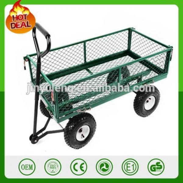 1000 Lbs Heavy Duty Steel Garden Yard Cart Utility Wagon Trailer Lawn Tractor Trolley