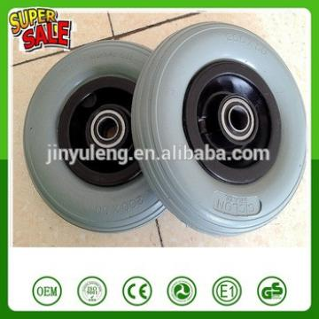 not flat 200 50 pu foam wheel plastic rim green pu wheel High quality high elastic wear-resisting wheelchair trolley