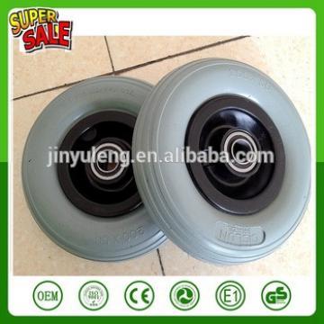 200 50 pu foam solid wheel for plastic rim green pu wheel line pattern wheelchair wheels hand trolley hand truck wheels