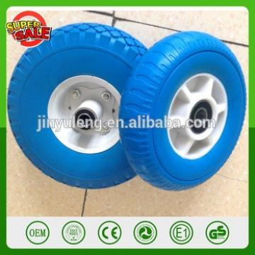 8 inch Plastic rim high quality pu foam rubber wheel for hand trolley truck wheelbarrow solid wheel have bearing