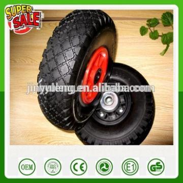 10 inches small pu foam solid wheel10*3.50/4.10-4 3.00-4 plastic rim nylon bush