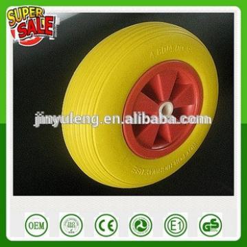 16 inch Prevent rust prevent puncture Solid PU wheel with plastic rim 4.00-8