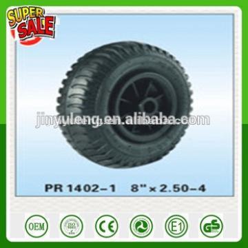 2.50-4 8inch pneumatic air rubber wheelfor trolley tool cart wheelbarrow plastic rim steel rim PU solid wheel