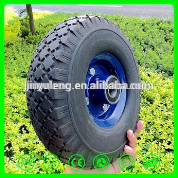 10 inch 300-4 steel rim prevent puncture solid PU foam rubber wheel trolley wagon bicycle hand cart lawn mower kid electric car