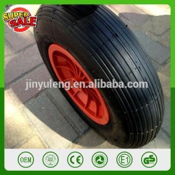 QIngDao Cheap 4.80/4.00-8 16 inch plastic rim rubber wheel pneumatic wheel barrow wheelbarrow wheel line pattern