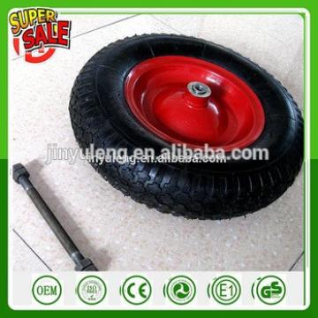 power capacity 14''16 inch 3.50-8 4.00-8 pneumatic rubber tire gem pattern with axle steel rim wheelbarrow wheel rubber wheels