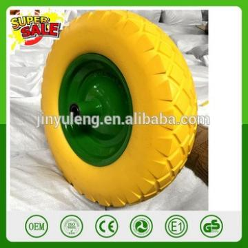16'' 4.00-8 hot popula metal rim pu solid wheel for wheelbarrow wheels prevent puncture