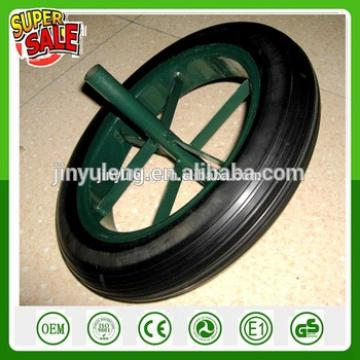 13'' 14'' rubber sold wheel wheelbarrow wheel WB6400 solid rubber steel spoke rim Solid wheel power wheel