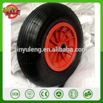 16 inch 4.00-8 plastic rim Pneumatic air rubber wheel for wheelbarrow Martin Wheel line free pattern Replacement wheel nylo bush