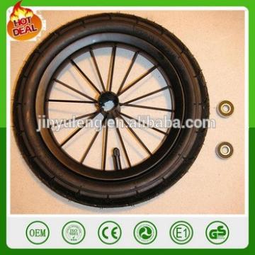 8/12/14 inches alloy Carbon steel PU foam bicycle wheel ,pneumatic bike wheel ,Baby carrier wheels