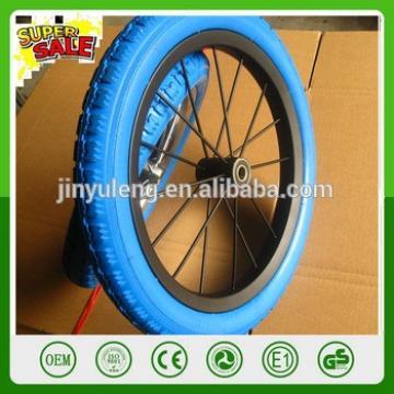 Avoid aeration puncture 12'' PU solid foam wheel , matel rim Children's balanced bike wheel ,baby wheel