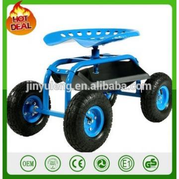 Blue Rolling Garden Cart with 360 Degree Swivel Seat & Tray Work Rolling four wheels Garden Scoot with Swivel Heavy Duty Tool
