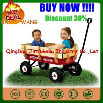 Wooden baby kids children wagon cart four wheels can folding