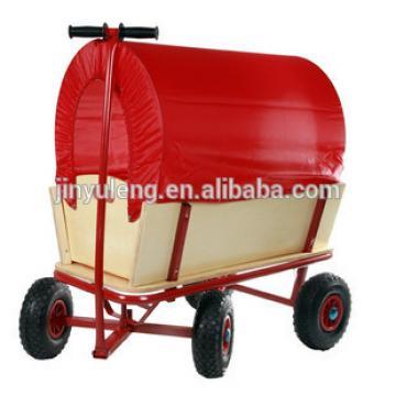 Wooden baby kids children wagon cart four wheels