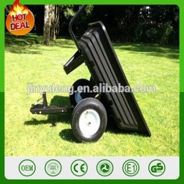 Move car heavy dump tray tool cart bucket hopper Trailer wheel barrow for ride on lawn mower, garden tractor ATV tractor