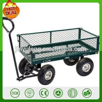 Garden Mesh Cart Heavy Duty Steel Metal Yard Farm Firewood Beach Landscaping Garden Wagon Cart
