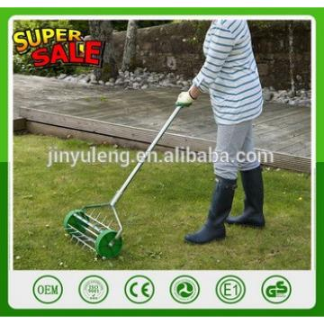 Lawn scarifier lawn spike aerator with wheel Rolling Fertilizer Tool Landscaping Yard Grass Seeding