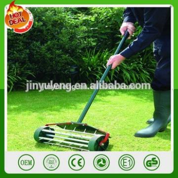 simple lawn rake Lawn scarifier lawn spike aerator with wheel Rolling Fertilizer Tool Landscaping Yard Grass Seeding