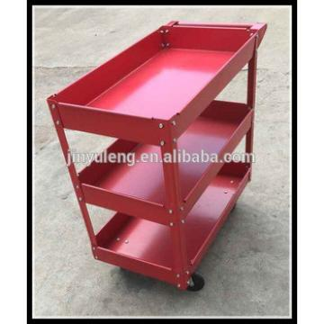 Four wheels three layers metal platform service cart for fast food restaurant, hotel, restaurant, repair, 4s,train