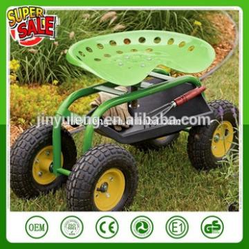 4 wheel metal heavy capacity garden gardening tractor small seat move Rotating work bench stool