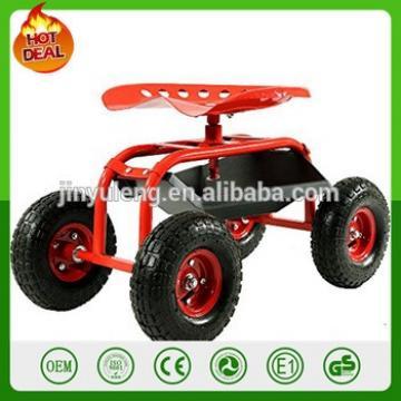 4 Matel adjustable height Garden Cart Rolling work seat move rolling seat garden stool Gardening Planting