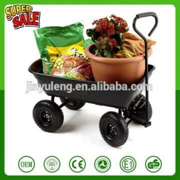 Heavy Duty 4 wheel Garden Dump tool Cart trolley hand carts Tipper Tipping Trailer Dump Wheelbarrow Truck Yard Lawn Wagon