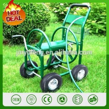 New Heavy Duty 300ft Hose Reel pipe Cart Metal Rolling Outdoor Garden Watering