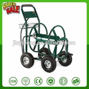 300 FT capacity 4 wheels steel matel Hose Reel Cart Outdoor Garden Heavy Duty Yard Water Planting Hose carts trolley tool cart