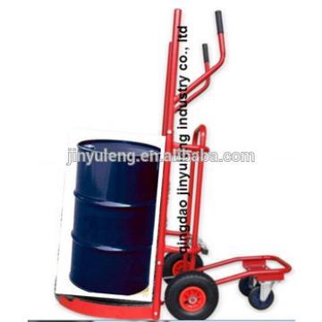 Adjustable multi-function four wheel Meatl hand trolley for Tyre transport ,oil drum transport,oil dispensing trolley