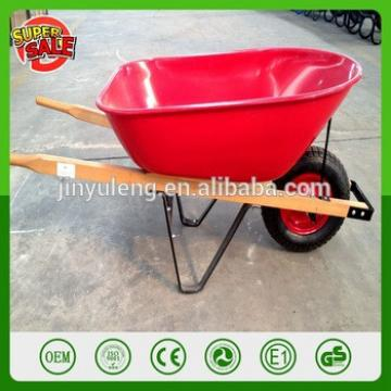 WB6601 Large tray 80L capacity power load wood handle wheelbarrow for Planting, picking Farms, pasture lands, orchard
