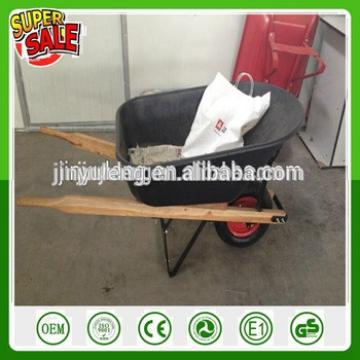 Large capacity heavy wooden handle plastic tray wheel barrow for Pastures, farms, orchards and gardens