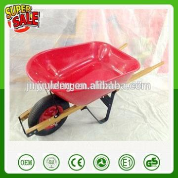 wholesale retail Hot sell cheap good quality WB6601 wooden handles plastic tray green wheelbarrow for Farm garden orchard