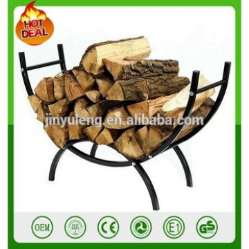 "Outdoors 39"" andirons Curved Crescent Firewood Log Rack Wood Holder Lumber Storage"