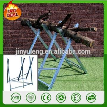 Heavy Duty Outdoor Foldable Cutter Metal Sawhorse Teeth Galvanised Serrated Grip Cutting Rack Saw Horse For Chainsaw axe Chopper