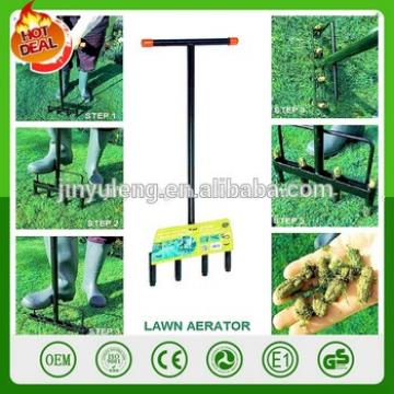 garden courtyard outdoor manual lanwn spike aerator Steel Spike Lawn Hard Soil Yard Aerator Stirrup Handle Hand Tools