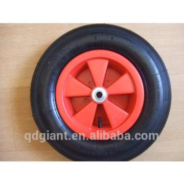 Pneumatic wheelbarrow wheel 4.00-8 straight line pattern with plastic rim