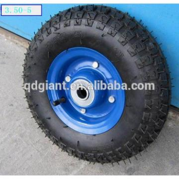 Golden color Pneumatic wheel Caster 10in 3.50-5 Turf Tread