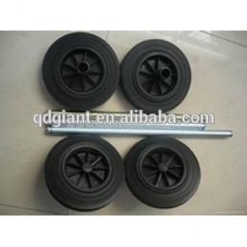 Trash bin solid rubber wheel with axle 10inch(250mm)