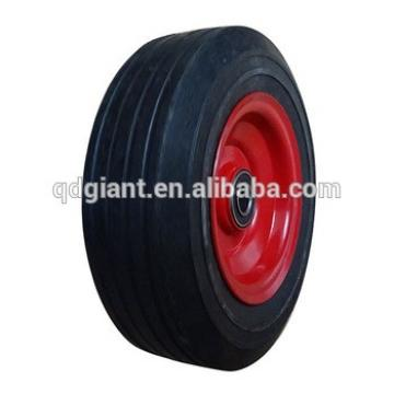 8x2.5 inch solid rubber wheel with rib tread and red iron rim for mowers or material handling equipment