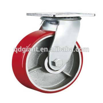 6 inch heavy duty PU trolley castor wheel with brake