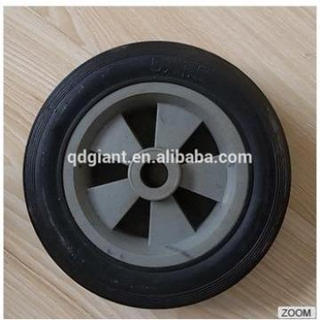 5 inch black solid rubber wheel with plastic rim