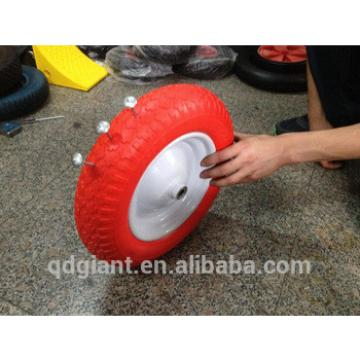 Red color flat free wheel 350-8 with white rim