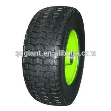 turf pattern steel rim pu foam rubber wheel 6.50-8