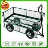 heavy duty 300kg capacity metal garden trolley green trailer cart truck 4 Wheel Transport Metal Wheelbarrow garden wagon