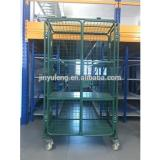 Folding the three layers of grid shelves transportation cart ,Industrial transportation moving trolley, Supermarket cart