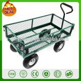 300kg capacity 4 wheel heavy duty metal garden trolley green trailer cart truck 4 Wheel Transport Metal Wheelbarrow garden wagon
