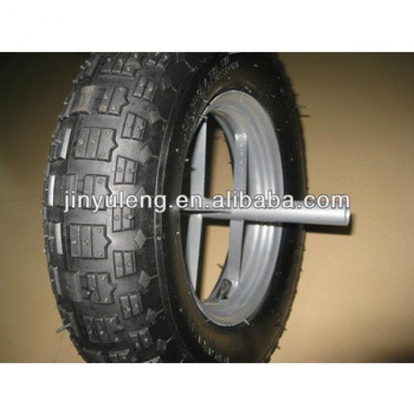 4.00-8 block pattern wheel barrow tyre for hand trolley #1 image