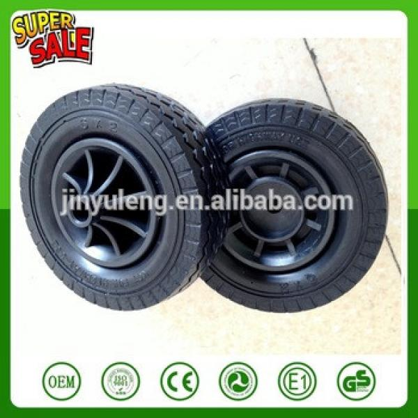 6'' -2 prevent puncture pu foam solid wheel for hand trolley truck tool cart wheel barrow plastic rim #1 image